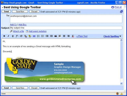 HTML Formated Gmail Email