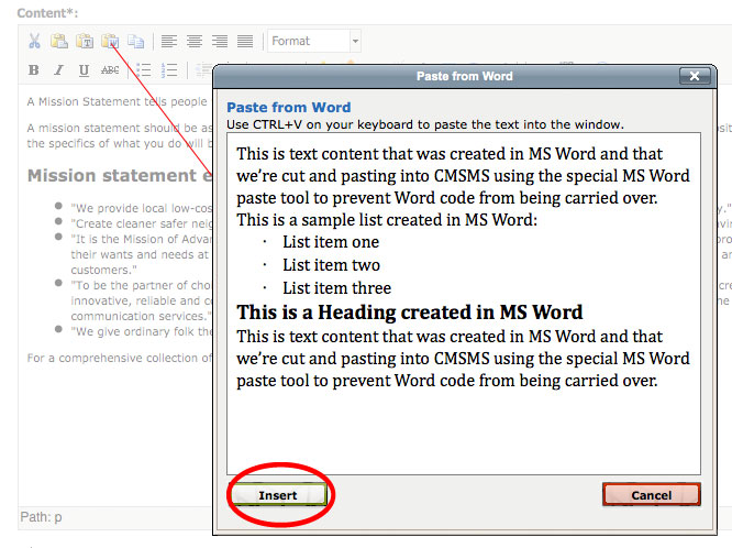 MS Word Paste Tool CMS Made Simple